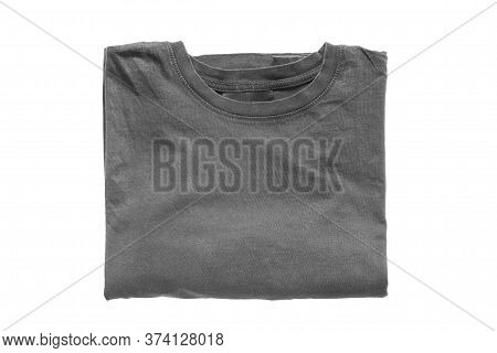 Folded Grey Basic Cotton T-shirt Isolated Over White
