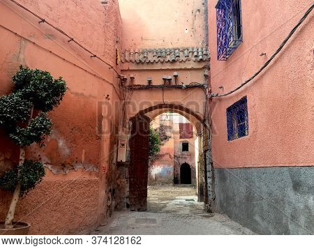 Beautiful Moroccan Street In The Medina Of Marrakesh In Pastel Colors. Exotic And Cultural Trip