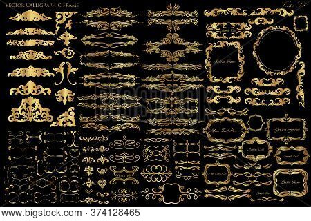 A Large Set Of Vintage Elements, Decorative Frames And Adornments In Gold Color On A Black Backgroun