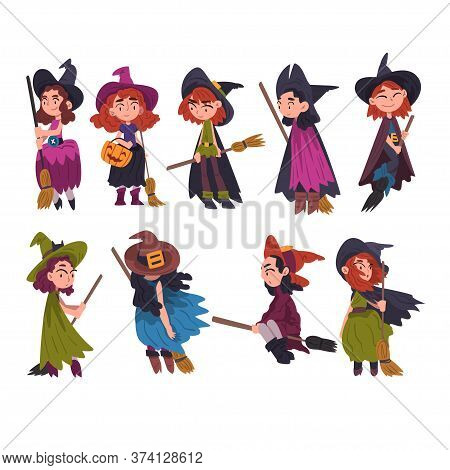 Cute Little Witches Collection, Girls Wearing Dress And Hat With Brooms, Halloween Cartoon Character