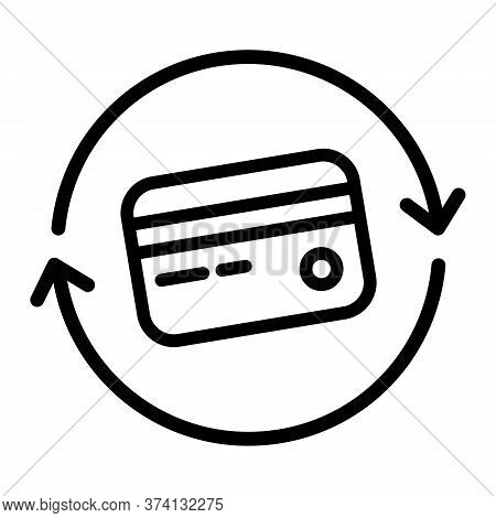Credit Card Sync Icon Illustration. Bank Card Icon. Update, Refresh Payment Symbol. Finance, Payment