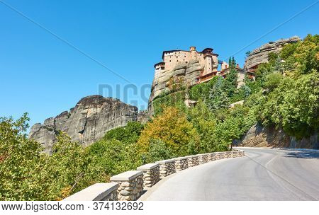Highway leading to The Monastery of Rousanou in Meteora,  Greece. Greek scenery