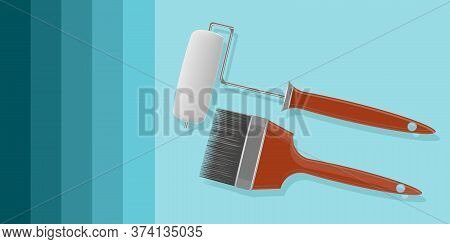 Diy Home Repair. Paint Roller And Brush Realistic - Abstract Background - Vector. Banner