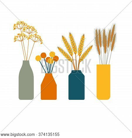 Dried Floral Arrangements. Set Of Autumn Bouquets In Vases. Fall Decorations. Thanksgiving Table Dec