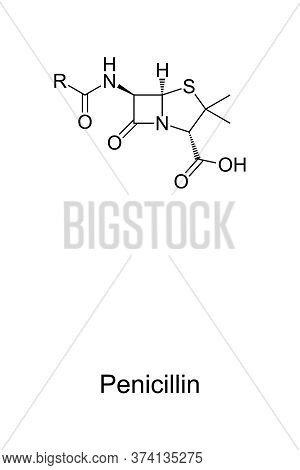 Penicillin, Chemical Core Structure And Skeletal Formula Of Pcn Or Pen, A Group Of Antibiotics. R In