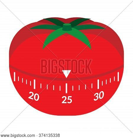 Kitchen Timer In The Form Of A Red Tomato. Mechanical Device, Time Interval. Appliance For Pomodoro