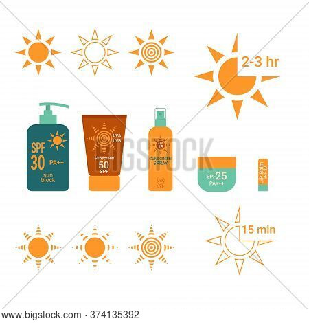 Sun Protection. Time Interval Sunblock With Spf Uva Uvb. Bottle With Sunscreen. Lip Balm With Spf. S