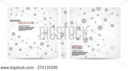 Brochure Template With Molecule Background, Connected Structure. Dna, Atom, Neurons. Magazine, Poste
