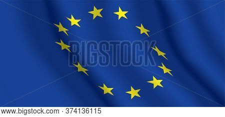 Eu Official Flag. Horizontal Background Of The European Union Waving Flag. Vector Illustration.