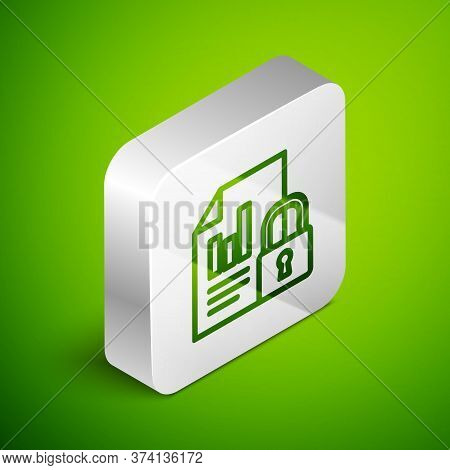 Isometric Line Document And Lock Icon Isolated On Green Background. File Format And Padlock. Securit
