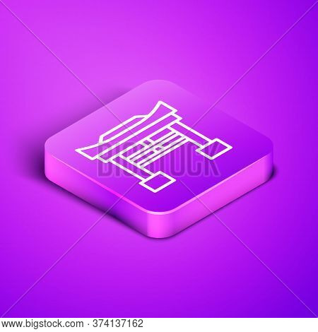 Isometric Line Japan Gate Icon Isolated On Purple Background. Torii Gate Sign. Japanese Traditional