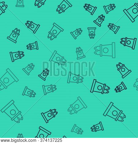 Black Line Stage Stand Or Debate Podium Rostrum Icon Isolated Seamless Pattern On Green Background.