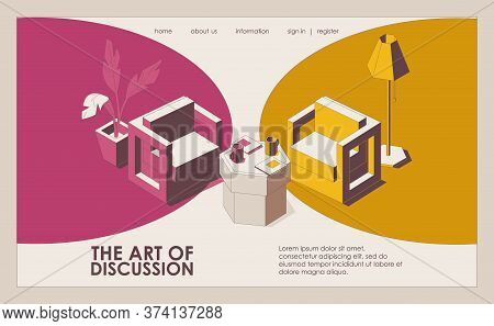 Landing Page Concept Scene With Furniture Ready For Opponents Discussion. Isometric Outline Chairs I