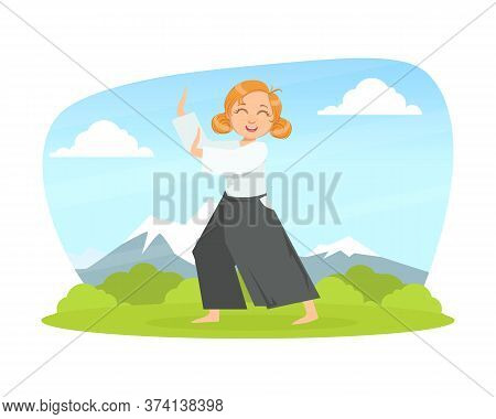 Kid Asian Martial Art Fighter, Girl Athlete Practicing Aikido Technique Outdoors Cartoon Vector Illu