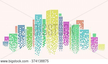 Outline Of Metropolitan Area With Colorful Skyscrapers On White Background, Vector Illustration. Pan