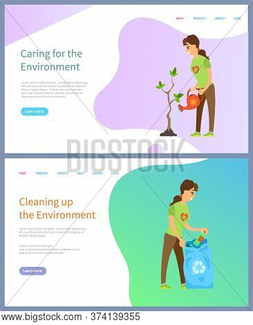 Ecosystem Community, Woman Volunteer Watering Tree, And Putting Bottle In Bag, Cleaning Up Environme