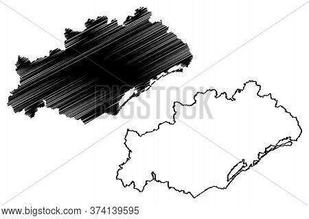 Herault Department (france, French Republic, Occitanie Or Occitania Region) Map Vector Illustration,