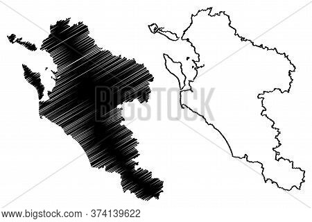 Charente-maritime Department (france, French Republic, Nouvelle-aquitaine Region) Map Vector Illustr