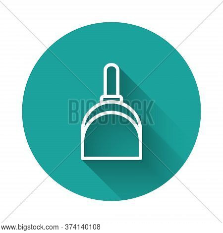 White Line Dustpan Icon Isolated With Long Shadow. Cleaning Scoop Services. Green Circle Button. Vec