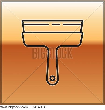 Black Line Cleaning Service With Of Rubber Cleaner For Windows Icon Isolated On Gold Background. Squ