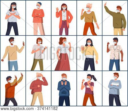 Collection Of Mix Race Vector Characters Protesting Against World Epidemic. Multinational Men And Wo