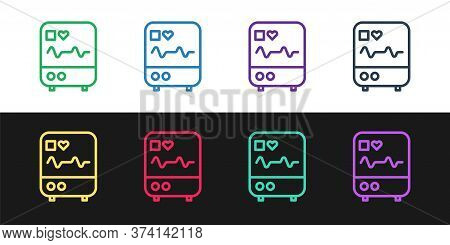 Set Line Computer Monitor With Cardiogram Icon Isolated On Black And White Background. Monitoring Ic