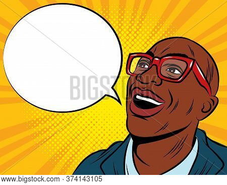 Color Vector Illustration In Pop Art Style. African American Man In Glasses And Suit. Amazed Male Fa