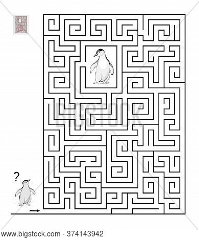 Logic Puzzle Game With Labyrinth For Children And Adults. Help The Little Penguin Find The Way Till