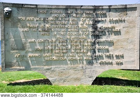 Canakkale, Turkey - June 24, 2011:the Anzac Monument At The Aribirnu Cemetery, Inscribed With Atatur