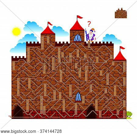 Logic Puzzle Game With Labyrinth For Children And Adults. Help The Dwarf Find The Way To Get Down Fr