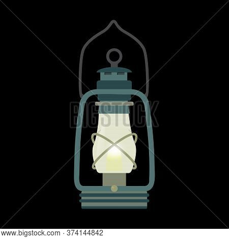 Kerosene Lamp In A Flat Style. An Old Lighting Device On Chemical Fuel. An Ancient History Item. Vec