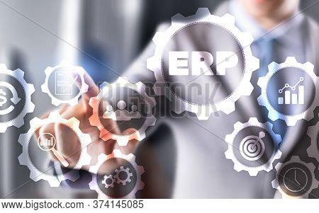 Enterprise Resource Planning Erp Corporate Business Concept On Futuristic Background.