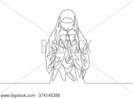 Single Continuous Line Drawing Of Young Attractive Middle East Muslimah Wearing Burqa With Head Scar