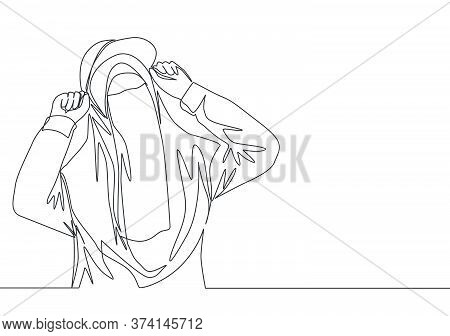 One Continuous Line Drawing Of Young Cute Beauty Middle East Muslimah Wearing Burqa With Trendy Hat.