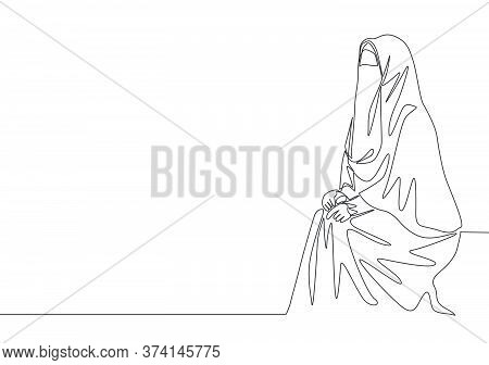One Single Line Drawing Of Young Attractive Middle East Muslimah Wearing Burqa Sitting On Chair. Tra