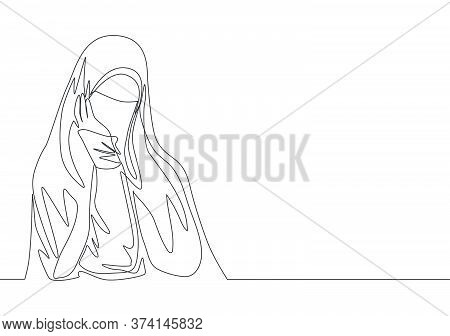 Single Continuous Line Drawing Of Young Beauty Middle East Muslimah Wearing Burqa With Head Scarf. T