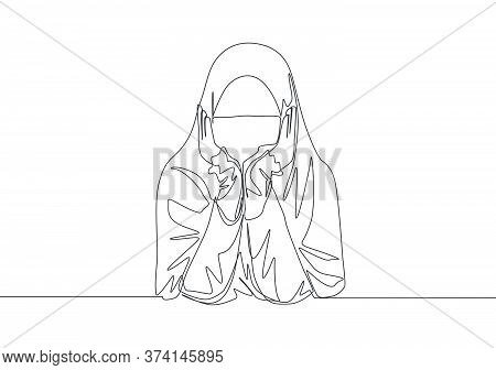 One Continuous Line Drawing Of Young Pretty Middle East Muslimah Wearing Burqa With Headscarf. Tradi