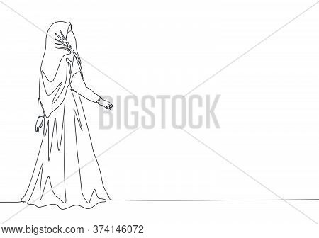 One Single Line Drawing Of Young Beauty Saudi Arabian Muslimah Wearing Burqa And Pose Nicely. Tradit
