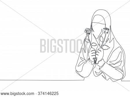 Single Continuous Line Drawing Of Young Happy Saudi Arabian Muslimah Wearing Burqa While Holding Ros