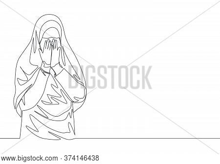 Single Continuous Line Drawing Of Young Cute Saudi Arabian Muslimah Wearing Burqa And Covering Face