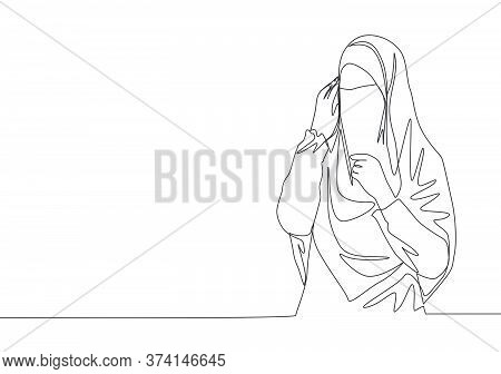 One Continuous Line Drawing Of Young Happy Cute Saudi Arabian Muslimah Wearing Burqa With Veil Hijab