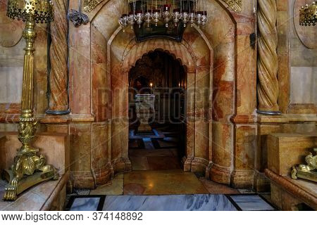 Jerusalem, Israel, June 13, 2020 : The Entrance To Kuvuklia In The Holy Sepulchre In Christian Quart