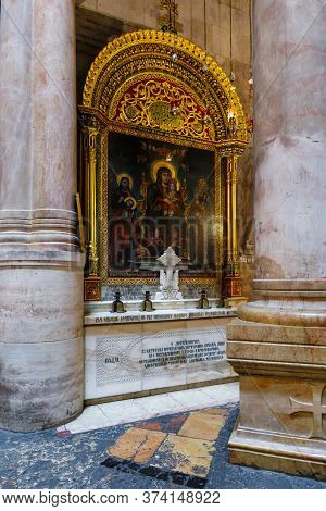 Jerusalem, Israel, June 13, 2020 : The Interior Of The Church Of The Holy Sepulchre In Christian Qua