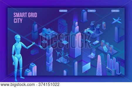 Smart Grid City 3d Isometric Infographics, Blue Neon Concept With Solar Panels And Electricity Pole,