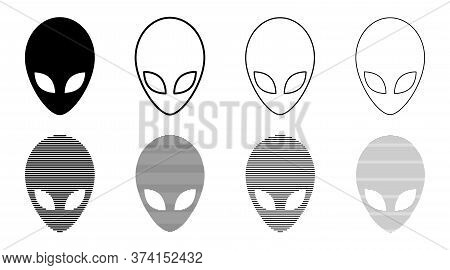 Set Icons. Extraterrestrial Alien Face Or Head Symbol Flat Icon For Apps And Websites. Vector Illust