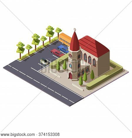 Modern Isometric Christian Catholic Church. Religious Building With Cross And A Chapel Along Highway