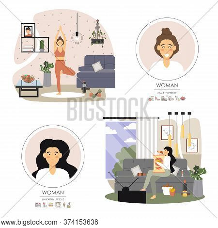 Healthy And Unhealthy Lifestyle Set, Vector Flat Illustration