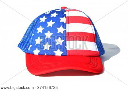 4th of July Ball Hat. American Flag Base Ball Hat. Isolated on white. Room for text. Red White and Blue Patriotic American Hat. Independence Day head ware.