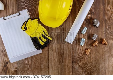 Plumbing Copper Pipe Water Supply Safety Protective Gloves Construction Blueprints Architects Bluepr