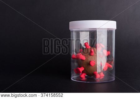 Imprison Prevent Plasticine Disease Cells Virus In Bottle For Research In Lab Of Coronavirus Outbrea